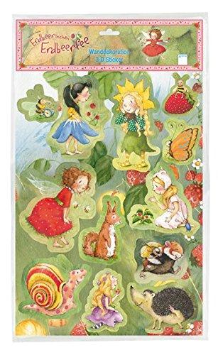3D-Stickerbogen Erdbeerinchen mit 12 farbigen Wandstickern in Plastiktasche mit Headercard: Erdbeerinchen Erdbeerfee.:
