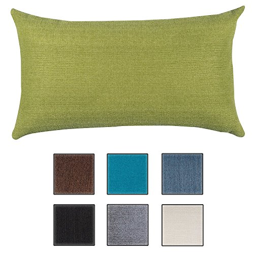 Salosan - cuscino da divano per soggiorno, morbido e decorativo, imbottitura ipo-allergenica, 7colori tinta unita, 40x 70cm verde