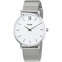 Cluse Unisex Analogue Watch with White Dial Analogue Display and Stainless steel plated silver - CL30009
