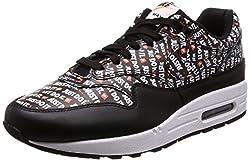 Nike Herren Air Max 1 Premium Sneakers, Mehrfarbig (Black/White/Total Orange 001), 43 EU