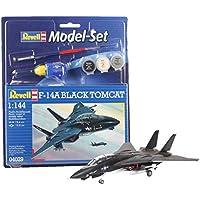 Revell Modellbausatz Flugzeug 1:144 - F-14A Black Tomcat im Maßstab 1:144, Level 3, originalgetreue Nachbildung mit vielen Details, , Model Set mit Basiszubehör, 64029