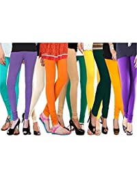 ROOLIUMS ® (Brand Factory Outlet) - Cotton Lycra Leggings (Pack Of 10), 4 Way, 140 GSM - Free Size