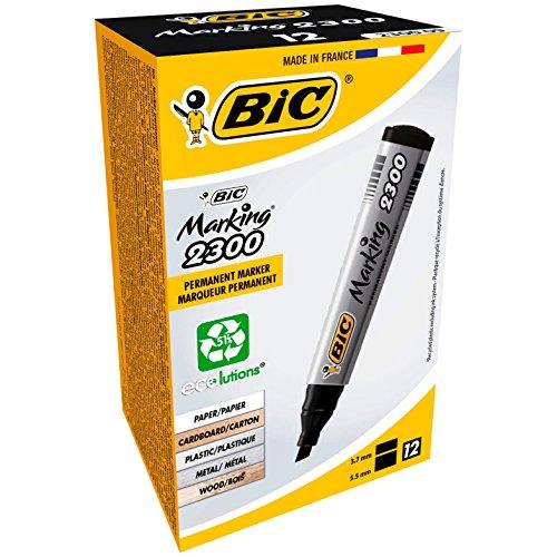 BIC Permanent Marker Marking 2300 ECOlutions. Keilspitze, 3,7 bis 5,5 mm, Schachtel à 12 Stück, schwarz