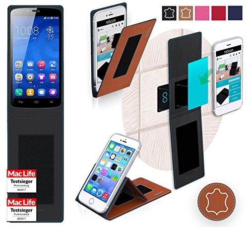 reboon Hülle für Huawei Honor 3C Play Tasche Cover Case Bumper | Braun Leder | Testsieger