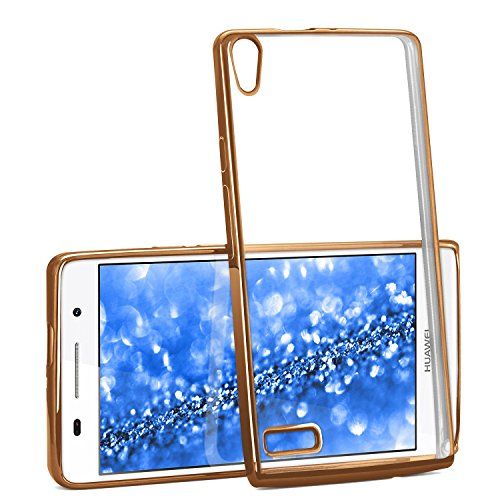 Chrome Case für Huawei Ascend P6 | Transparente Silikon Hülle mit Metallic Effekt | Dünne Handy Schutz Tasche von OneFlow | Back Cover in Gold