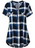 Odosalii Damen V-Ausschnitt Kariert Bluse 3/4 Ärmel Kurzarm Reißverschluss Tunika Longshirt Hemd Tops T-Shirt (XX-Large, B_Blau Kariert_Kurzarm)