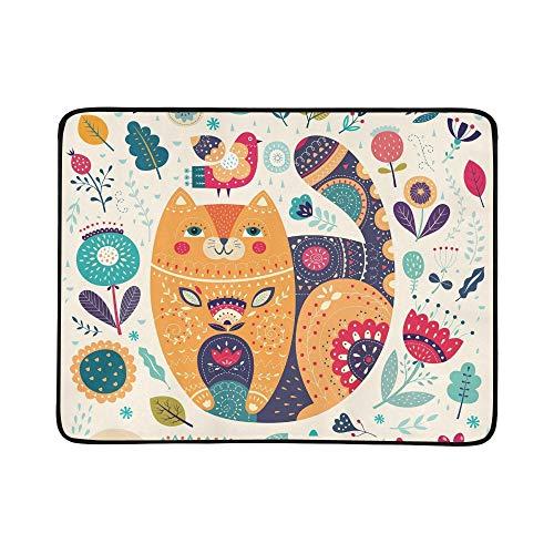 JEOLVP Kunst-Bunte schöne Katze tragbare und Faltbare Deckenmatte 60x78 Zoll-handliche Matte für kampierende Picknick-Strand-Reise im Freien -