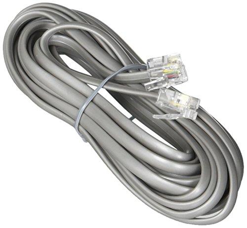 Premium High Qualität Telefon Line Cord Heavy Duty Silber Satin 4-Leiter 14-ft von teledirect -