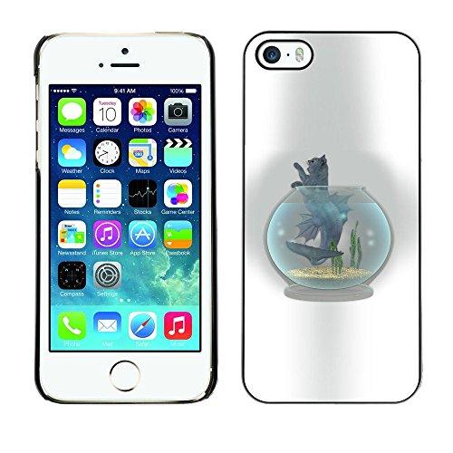 GooooStore/Housse Etui Cas Coque - Cat Fish Tank Bowl Grey Feline Art Drawing - Apple iPhone 5 / 5S