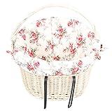 Handgeflochtener Fahrradkorb mit Schonbezug für Lenkstange aus 100% natürlicher Weide 40cm x 33cm x 28cm (K79)