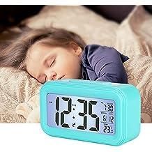 LONZOTH Smart Digital-Wecker, Snooze 5 Minuten, bald aufhören Alarmknöpfe, mit Datum, Temperatur- Für Kinder Studierende und Erwachsene(Blau)