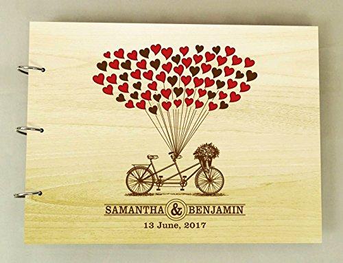 Signature de mariage personnalisée faite à la main dans le livre d'or de bois rustique gravé album de photos scrapbook