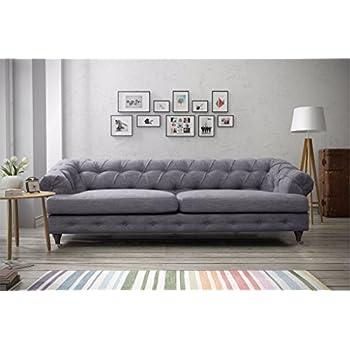 4a74364e26c9 furniturestop.co.uk Linen Chesterfield 3 Seater Sofa Fabric - Dolphin Grey