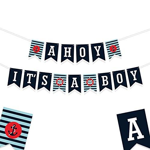 Signatives Geschlecht Reveal Party Dekorationen–Baby Dusche Banner–Seine a Boy Banner–Nautisches Thema Party Dekorationen–Geburtstag Banner blau–Baby Boy Banner