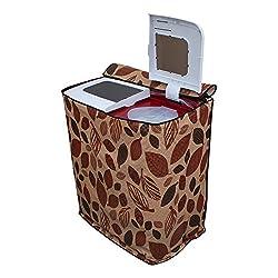Lithara Leafy Dark Brown Printed Washing Machine Cover for semi Automatic electrolux ES65LAEB 7kg