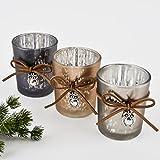 Teelichtglas 3er Set Eulen Design Glas 6x5x5cm grau schlamm Windlicht Weihnachten