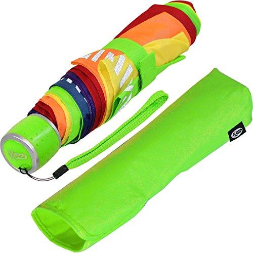 iX-brella Mini Kinderschirm Safety Reflex Extra Leicht - Regenbogen -