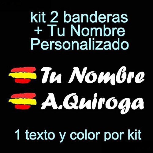 Vinilin Pegatina Vinilo Bandera España + tu Nombre - Bici, Casco, Pala...