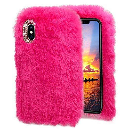 DasKAn Diamant Kaninchen Plüsch Hülle für Samsung Galaxy J6 2018, Handgefertigt Winter Warm Weiche Häschen Flauschig Fell Handytasche 3D Strass Design Stoßfest Gummi Silikon Schutzhülle,Rosa Rot -