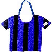 Zigozago - Bavaglino Football a RIGHE NERO e AZZURRO ; Chiusura: Elastico; Taglia: Unica