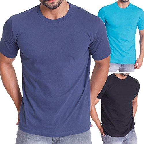 Celodoro 3er Pack Exclusive Herren T-Shirt Regular Fit Black/Blue Indigo/Hawaiian Ocean-L (Blue Hawaiian Shirt)