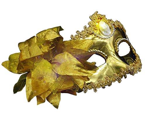 Venitiens Kostüm - Schöne Maskerade Maske Venetian Augenmaske mit Blume, Gelb