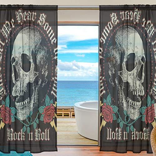 BIGJOKE Vorhang für Fenster, transparent, Halloween, Totenkopf, Rose, Zitat für Küche, Wohnzimmer, Schlafzimmer, Büro, Voile, 2 Stück, Multi, 55x84 inches