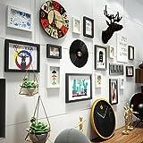 Unbekannt 14 Multi-Bilderrahmen Set Vintage Industrial Style Holz Schlafzimmer Sofa Esszimmer Wand kreative Komposition Fotorahmen Foto Wand @The harvest season (Farbe : A)