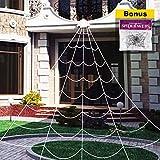 OWUDE 16 Feet Halloween Spinnennetz, gefälschte Spooky Spinnennetz Cobweb für Halloween Indoor/Outdoor Dekorationen Requisiten-Weißes dreieckiges Spinnennetz