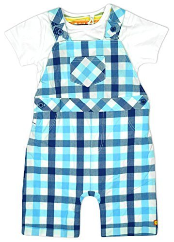 Baby Boys Checked Bib Dungaree Shorts & Bodysuit Top Outfit Set sizes from Newborn to 12 Months