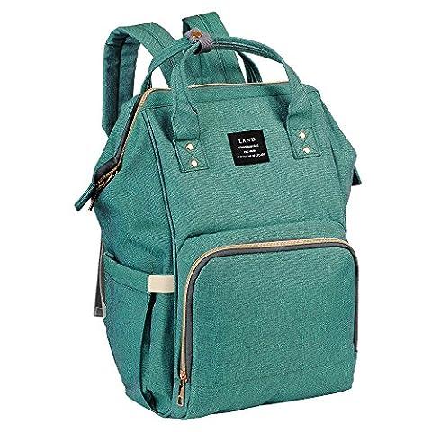 Windel-Rucksack, große Kapazitäts-Mama-Reise-Windel-Tote-Handtasche Krankenpflege-Schulter-Organisator-Beutel mit isolierten Taschen Spaziergänger-Bügel für Baby-Sorgfalt (Grün)