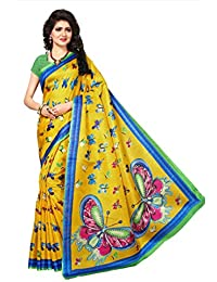 Fabwomen Sarees Kalamkari Khadi Coloured Khadi Silk Fashion Party Wear Women's Saree/Sari With Blouse Piece