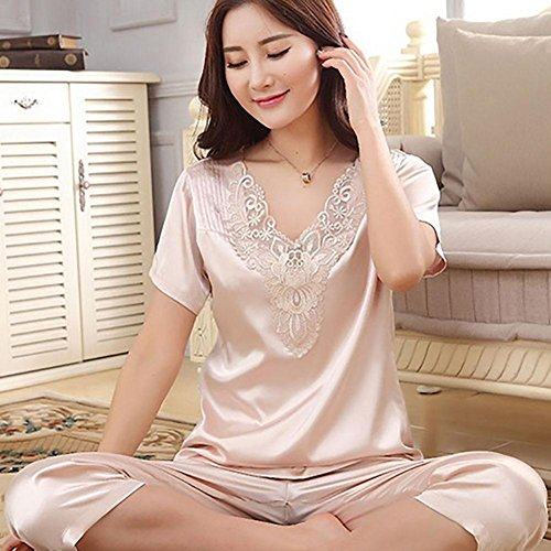 CHUNHUA Mme pyjama de soie mince section imitation manches courtes costume survêtement , champagne , xxxl Champagne