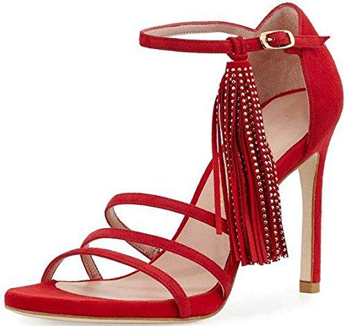 Sandali con tacco in camoscio moda Tacchi alti sandali gules