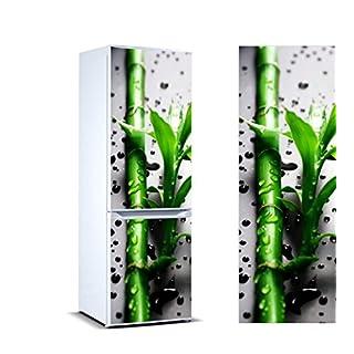 Stickers Autocollants Frigo Branches bambou gouttes d'eau Mesure 185 x 60 cm | Vinyle Adhésif Résistant et facile d'appliquer | Étiquette Adhésive Décorative d'une conception élégante |