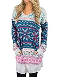 166277190c2b9e YHUJH Damen Langarm Langarmhemd Pullover Tops Karierte Bluse Esprit Blau  Special Style Pullover Langes Top Kurzes Hooded Sweat…