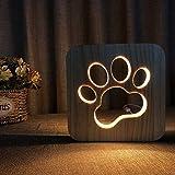 Nachtlicht Tier-Nachtlicht USB Lampe Tischlampe Holz Nachtlicht 3D Lampe Hund Pfotenabdruck Katze Nachtlicht Cat Claw