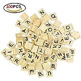 Nicedeal 100 Baldosas de Scrabble Azulejos de Madera Baldosas de la Letra de DIY para la