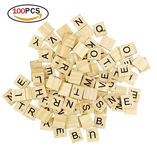 100 Baldosas de Scrabble Azulejos de Madera Baldosas de la Letra de DIY para la Educación de los Niños de Preescolar y el Crucigrama