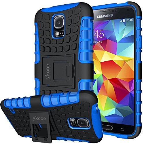 """Funda Samsung Galaxy S5, ykooe Teléfono Híbrida de Doble Capa con Soporte Carcasa para Samsung Galaxy S5 5,1"""" (S5 Funda Azul)"""