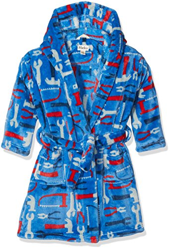 Hatley Fuzzy Fleece Robe, Bata para Niños, Azul (Mr. Fix It 400) Large