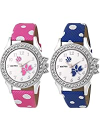 Matrix White Studded Dial, Blue & Pink Leather Strap Analog Watches For Women/Girls - Combo (Pack Of 2) (BAE-8)