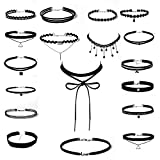 Bliqniq 25 Stück Damen Choker Kette schwarz spitze Set Velet Choker Lace Halsband für Mächen Kinder schwarz, Spitzen Kropfband, Geschenk für Freundin Mutter Frauen,