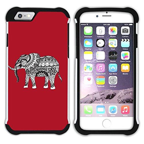 Graphic4You Stammes- Elefant (Wasserblau) Hart + Weiche Kratzfeste Hülle Case Schale Tasche Schutzhülle für Apple iPhone 6 Plus / 6S Plus Rot