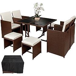 TecTake Poly Rattan Aluminium Sitzgruppe Cube | 4 Stühle 1 Tisch 4 Hocker | Schutzhülle & Edelstahlschrauben - Diverse Farben - (Mixed Braun | Nr. 402095)