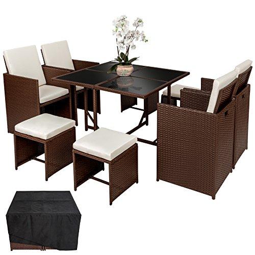 Salon jardin résine tressée Tectake 4 chaises - Tout Jardin Direct