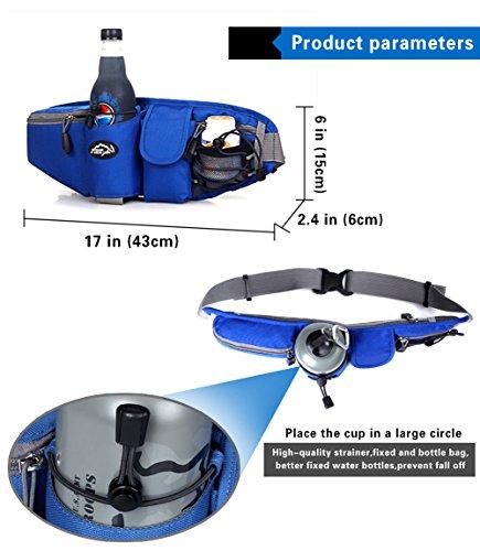 EchoFun Outdoor-taktische Taille/Fanny Bag Fashion haltbar Unisex Runner Camping Wandern Bike Taille Backpackack Wasser Flasche Halter verstellbarer Gürtel Sporttasche light blue