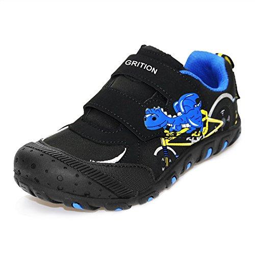 Niños Deportes Zapatos de dinosaurio Primavera Verano, Easy Hook and Loop Strap Trainers Niños Caminando Running School Casual Sneakers Resistente al agua (28 EU, Black)
