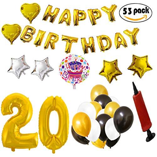 COTIGO - Globos Cumpleaños Happy Birthday #20 Color Dorado, Año 20