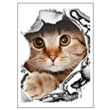 Bobury Autocollants décoratifs mignons de mur de 3D de chat de bande dessinée